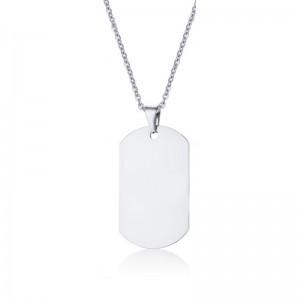 Lidyasteel Gümüş Renk Künye Çelik Kolye CKO20110