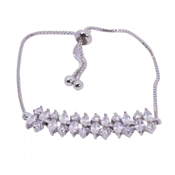 Lidyasteel Çelik Gümüş Renkli Taşlı Kadın Bileklik CBI2021