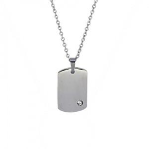 Lidyasteel Gümüş Renkli Unisex Çelik Künye Kolye CKO2028